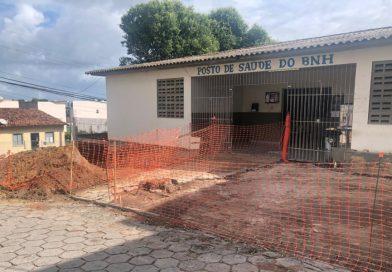 Secretaria de Saúde constrói calçada cidadã na Unidade de Saúde do Novo Horizonte